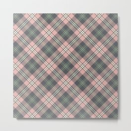 Pink and Gray Plaid Pattern Metal Print