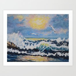 Impressionism Ocean Waves With Seagulls, Beach House Art and home decor Art Print