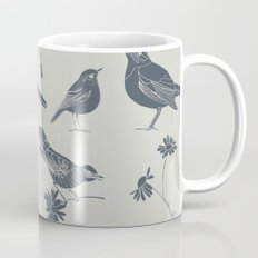 Birds and Daisies, drawing in blue and grey Coffee Mug