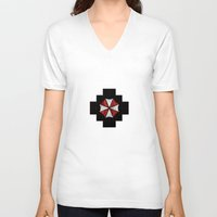resident evil V-neck T-shirts featuring Resident Evil Umbrella Corporation  by DavinciArt