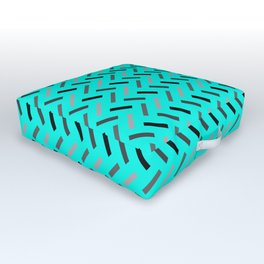 Wonky Rectangles Blue Outdoor Floor Cushion