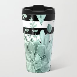 Simply Succulent Garden Striped in Turquoise Green Blue Gradient Travel Mug