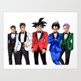 DBZ night suit and tie night out Art Print