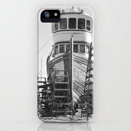 Shipyard Wooden Boat Fishing Ladders Black White Industrial Boatyard Northwest Shipwright iPhone Case