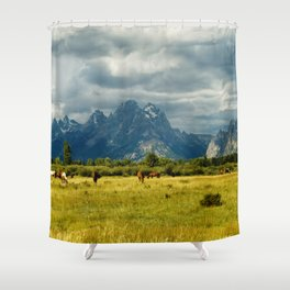 Horses and the Grand Teton Shower Curtain