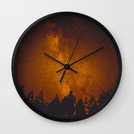 Vintage Sepia Milky Way Galaxy Star Night Sky Tree Silhouette Wall Clock