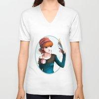 et V-neck T-shirts featuring Rose et l'oiseau by Ludovic Jacqz