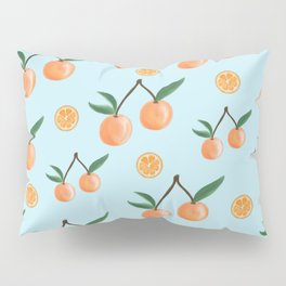 Fruity Oranges Pattern in Cool Blue Pillow Sham