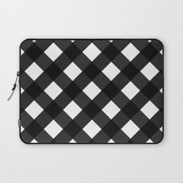 Contemporary Black & White Tilt Gingham Pattern - Mix & Match With Simplicty Of Life Laptop Sleeve