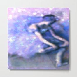 The Dancer By Edgar Degas Periwinkle Bokeh Sparkle Metal Print
