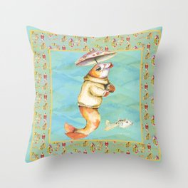 single lady fish with cat fish in a jumper  Throw Pillow