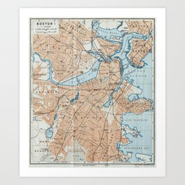Vintage Map of Boston MA (1906) Art Print