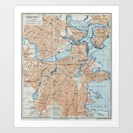 Vintage Map of Boston MA (1906) Art Print