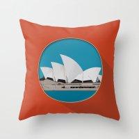 sydney Throw Pillows featuring Sydney by Matthias Hennig