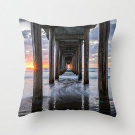 Pacific Ocean California Sunset La Jolla Scripps Pier Throw Pillow