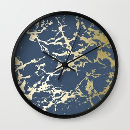 Kintsugi Ceramic Gold on Indigo Blue Wall Clock