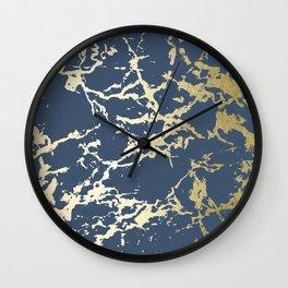 Kintsugi Ceramic Gold on Indigo Blue Wall Clock