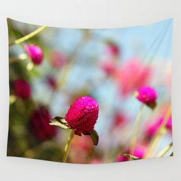 Hot Pink Puffs Wall Tapestry