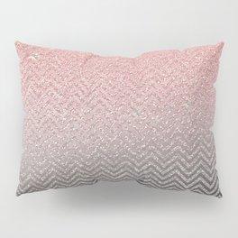 Blush chic pink  silver faux glitter geometrical Pillow Sham