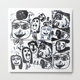Funny Face | Pop Art | Black and White Metal Print