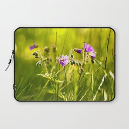 Beautiful meadow flowers - geranium on a sunny day - brilliant bright colors Laptop Sleeve