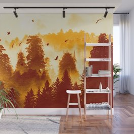 Forest Inception - Vintage Orange Fall Color Nature Landscape Wall Mural