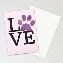 Love is a Four Letter Word - purple paw Stationery Cards