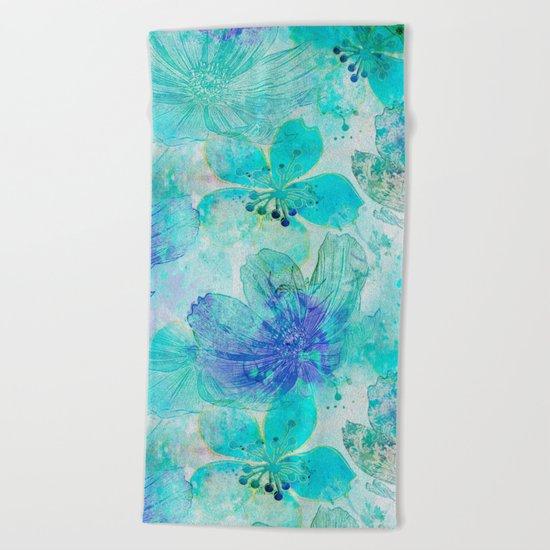 blue turquoise mixed media flower illustration Beach Towel