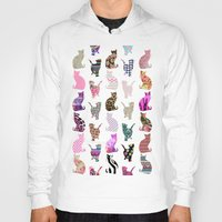 preppy Hoodies featuring Girly Whimsical Cats aztec floral stripes pattern by Girly Trend