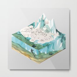 Low Poly Arctic Scenes - King Penguins (Isometric) Metal Print