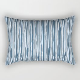 Dark Sea Blue Bold Grunge Vertical Stripe Pattern Pairs To 2020 Color of the Year Chinese Porcelain Rectangular Pillow