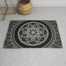 White Mandala On Black Background Rug