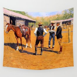 """Frederic Remington Western Art """"Buying Ponies"""" Wall Tapestry"""
