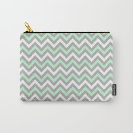 Chevron - mint and grey Carry-All Pouch