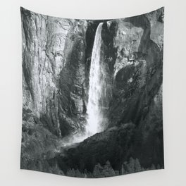 Bridalveil Falls. Yosemite California in Black and White Wall Tapestry
