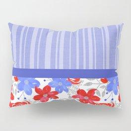 Patriotic Stripes, Red, White & Blue Flowers Pillow Sham