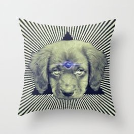 Psychedelic Demon Dog Throw Pillow