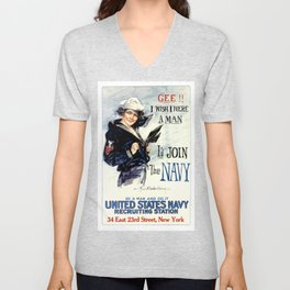 Vintage U.S. Navy Recruitment Poster Unisex V-Neck