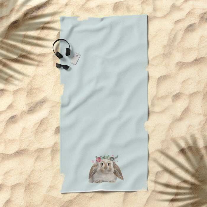 Spring Bunny with Floral Crown Beach Towel