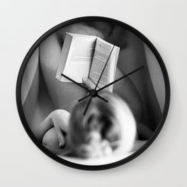 The Well-read Woman (reading in the bathtub) black and white photography Wall Clock
