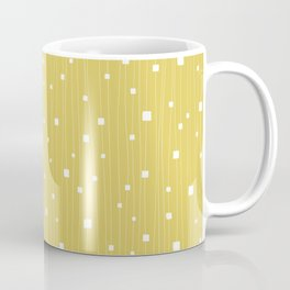 Squares and Vertical Stripes - Yellow and White - Hanging Coffee Mug