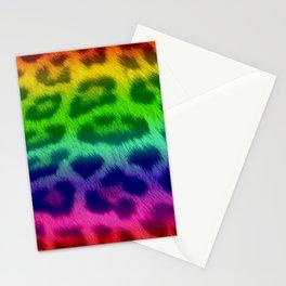 Rainbow Leopard Print Pattern Design Stationery Cards