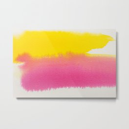 MINIMAL YELLOW + PINK LAYERED WATERCOLOUR CONTRAST Metal Print