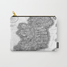 Vintage Map of Ireland (1799) BW Carry-All Pouch