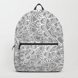 Grey Mandala Pattern Backpack