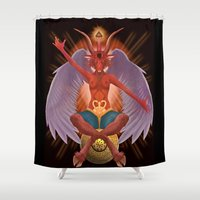 baphomet Shower Curtains featuring The Baphomet by 5th Aeon