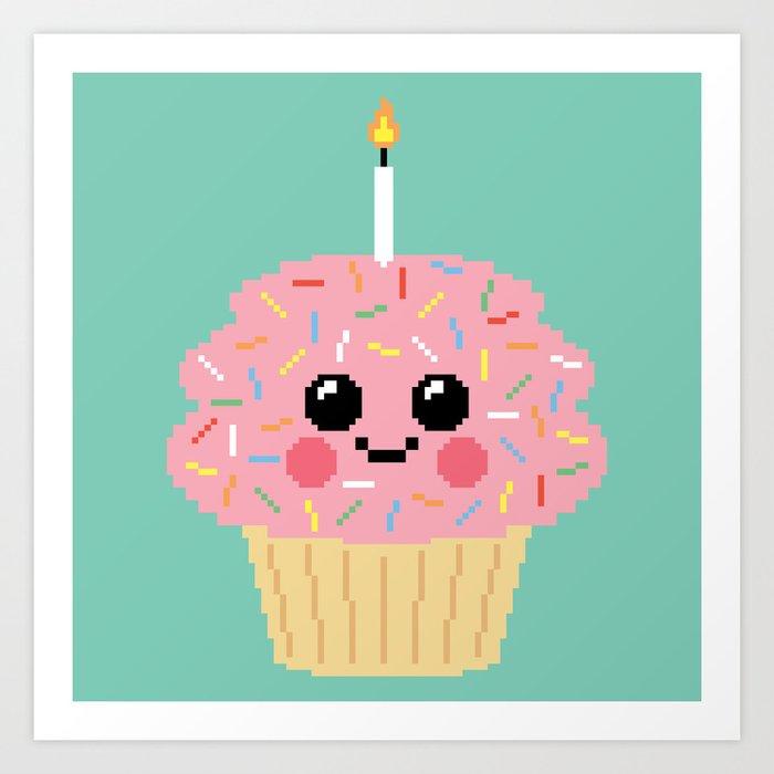 Happy Pixel Cupcake Art Print By Moukikbutt