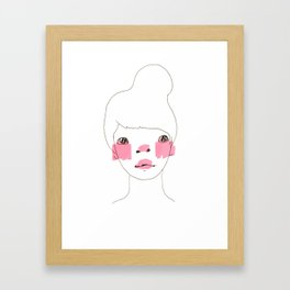 Line Drawing of a Girl in Neon  Framed Art Print