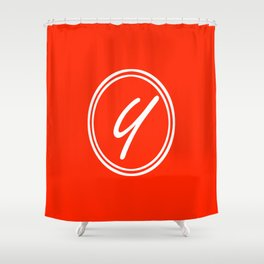 Monogram - Letter Y on Scarlet Red Background Shower Curtain