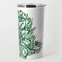 32. Artistic Green Henna Flower with Mehndi Travel Mug